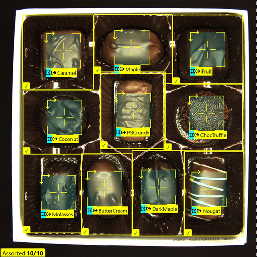 Cognex Deep Learning quality inspection software can be trained to identify correct placement and types of items assembled or packaged. In this consumer packaged goods example, it's assorted chocolates in a package. Source: Cognex