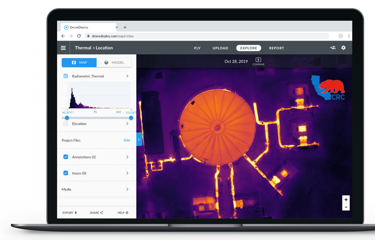 CRC uses DroneDeploy to fly and map thermal imagery and conduct thermal inspections.