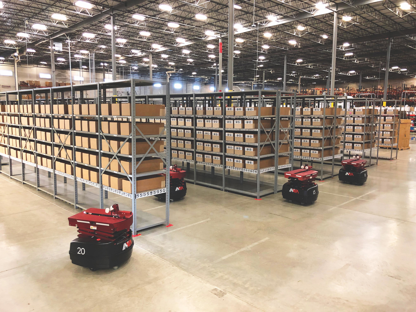InVia's subscription-based offering melds AMR robots with AI-driven optimization software to optimize warehouse operations and fulfillment. Image courtesy of InVia Robotics.