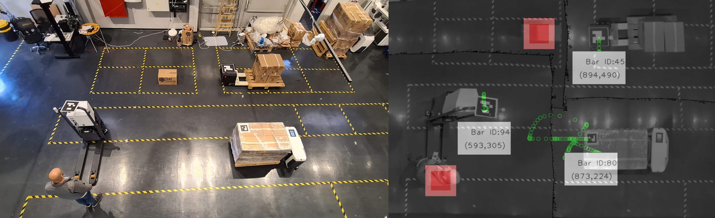 MAESTRO uses a computer vision system to track the movements of all mobile assets in tandem, and issues further instructions from a central controller.